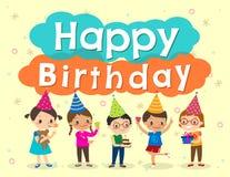Happy birthday party kids cartoon design template vector illustration
