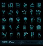 Linear birthday icons set with reflection. Happy Birthday Party line icon set with reflection. Vector illustration Royalty Free Stock Photography