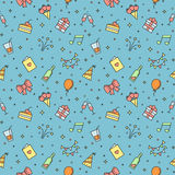 Happy birthday party multicolored vector seamless pattern. Outline minimalistic design. Royalty Free Stock Photography