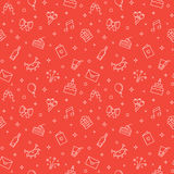 Happy birthday party red vector seamless pattern. Modern outline minimalistic design. Royalty Free Stock Photos