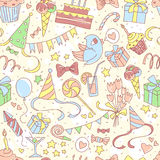 Happy birthday party seamless colored pattern with hand drawn pa Royalty Free Stock Photo