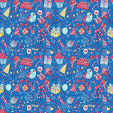 Happy birthday party seamless hand drawn colored pattern with gi Royalty Free Stock Photos