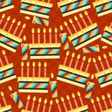 Happy Birthday party seamless pattern with cakes.  Royalty Free Stock Image