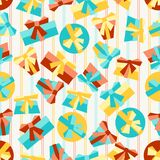 Happy Birthday party seamless pattern with gifts Royalty Free Stock Photography