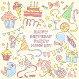 Happy birthday party set with hand drawn icons and lettering, gi Stock Photography