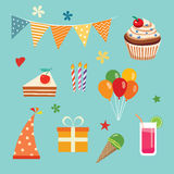 Happy birthday party set Royalty Free Stock Images