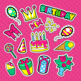 Happy Birthday Party Stickers, Badges and Patches. Kids Celebration Doodle with Cake, Balloons and Gifts Royalty Free Stock Image