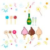 Happy birthday party symbols. Celebration happy birthday party symbols carnival festive  set. Colorful happy birthday party symbols hat, gifts, balloon. Happy Royalty Free Stock Photo