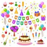 Happy birthday party symbols vector. Celebration happy birthday party symbols carnival festive vector set. Colorful happy birthday party symbols hat, gifts Royalty Free Stock Photo