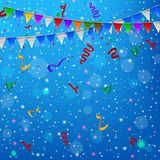 Happy Birthday party with triangle flags and confetti background Stock Photography