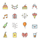 Happy birthday party vector multicolored icons set. Modern outline design. Royalty Free Stock Photos