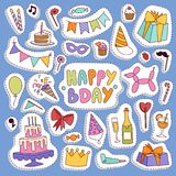 Happy birthday party vector symbols carnival festive illustration set colorful happy birthday partytime symbols hat. Gifts, balloons, cake. Party symbols event Stock Photography