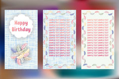 Happy Birthday pastels greeting cards. Three different vector patterns. Card in shades of blue with colorful feathers of a bird. Stock Photos