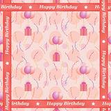 Happy Birthday pattern. Seamless Happy Birthday pattern with balloons carrying presents Stock Images