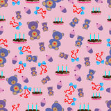 Happy birthday pattern with bear cake and candles Royalty Free Stock Photos