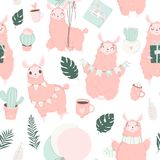 Happy Birthday pattern. Hand drawn romantic seamless pattern with cute birthday signs and symbols. Hand drawn romantic seamless pattern with cute lamas royalty free illustration