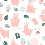 Happy Birthday pattern. Hand drawn romantic seamless pattern with cute birthday signs and symbols. Hand drawn romantic seamless pattern with cute lamas vector illustration