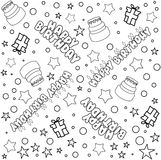 Happy Birthday Pattern Lineart Royalty Free Stock Photography