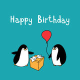 Happy birthday with penguins Royalty Free Stock Photography
