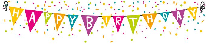 Happy birthday pennant with confetti banner isolated vector