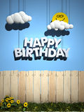 Happy Birthday, perfect day. 3D rendering of a wooden fence, with a blue sky , smiling sun, and happy Birthday written in the sky Stock Photography