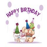Happy birthday pets cartoons. Vector illustration graphic design royalty free illustration