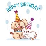 Happy birthday pets cartoons. Vector illustration graphic design vector illustration