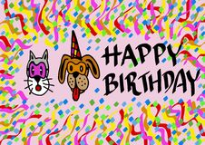 Happy birthday by pets Royalty Free Stock Photos