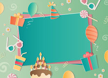 Happy Birthday photo frame. A realistic image that simulates paper. Aspect ratio photography 3:2 Royalty Free Stock Photo