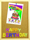 Happy Birthday phrase on a corkboard Stock Image