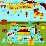 Happy birthday picnic poster with different food Royalty Free Stock Image