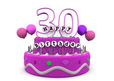 Happy Birthday. Pink cake with Happy Birthday and number on top Stock Photography