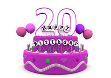 Happy Birthday. Pink cake with Happy Birthday and number on top Stock Photo