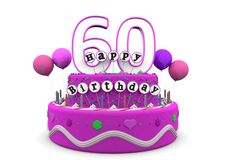 Happy Birthday. Pink cake with Happy Birthday and number on top Royalty Free Stock Images
