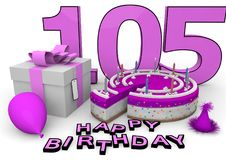 Happy Birthday. Pink cake and present with Happy Birthday and the age Royalty Free Stock Photography