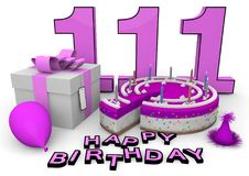 Happy Birthday. Pink cake and present with Happy Birthday and the age royalty free illustration