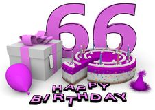 Happy Birthday. Pink cake and present with Happy Birthday and the age Royalty Free Stock Photos