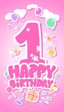 Happy Birthday pink card. Stock Photo
