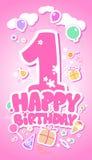 Happy Birthday pink card. First Happy Birthday pink card Stock Photo