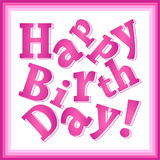 Happy birthday pink greeting card for girls, broken print text, square Royalty Free Stock Image