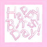 Happy birthday pink greeting card for girls, broken text, square Royalty Free Stock Image