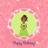 Happy Birthday pink greeting card with princess Royalty Free Stock Photography