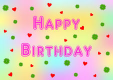 Happy Birthday in pink with shamrocks and hearts Royalty Free Stock Image