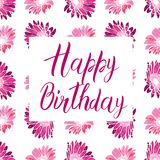 Happy Birthday pink text on a flower background. Festive typography vector designs for greeting cards. Ready template. Happy Birthday pink text on a flower Stock Image