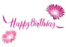 Happy Birthday pink text with flowers isolated on white background. Festive typography vector designs for greeting cards. Ready te. Mplate Royalty Free Stock Photos