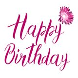 Happy Birthday pink text isolated on white background. Festive typography vector designs for greeting cards. Ready template. Happy Birthday pink text isolated Stock Photos