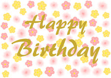 Happy Birthday on pink and yellow flowers Stock Images