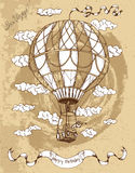 Happy birthday placard with hot air balloon on brown Royalty Free Stock Image