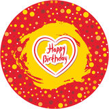 Happy birthday, polka dot round frame with grunge stained, red background with heart. Vector Royalty Free Stock Images