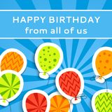 Happy birthday postcard with balloons Royalty Free Stock Images